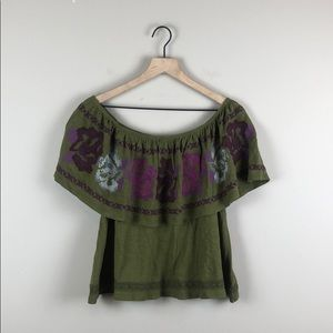 Free People Embroidered Off The Shoulder Top (S)